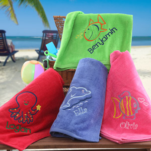 go fish custom beach towel