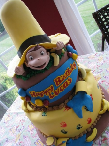 curiousgeorgecake 225x300 Make It A Curious George Birthday Party!