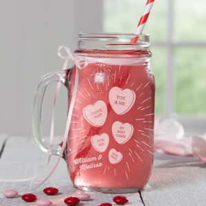 Conversation Hearts Custom Mason Jar Glass