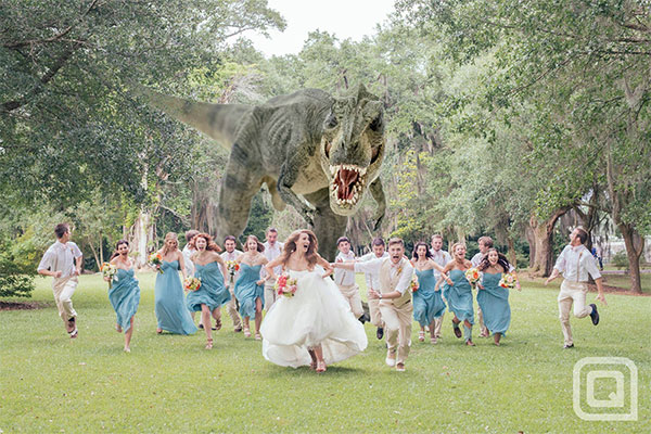 dinosaur wedding photo