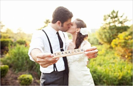 Thank You Wedding Photo With Scrabble Tiles