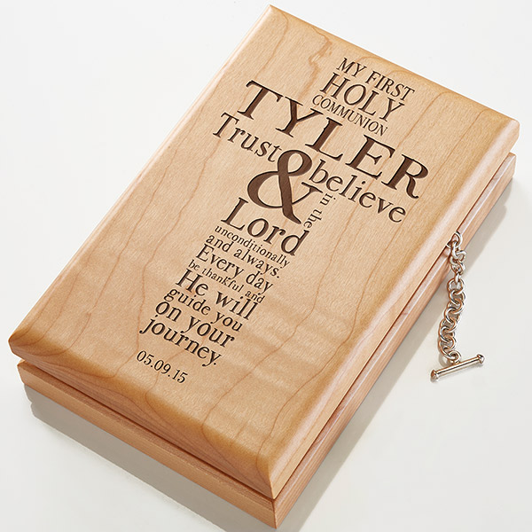First Communion Engraved Cross Wooden Treasure Box
