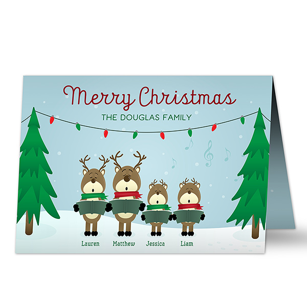 Custom Christmas Card - Reindeer Family