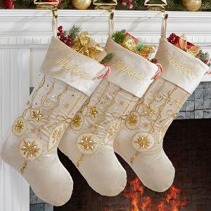 elegant gold Christmas stockings