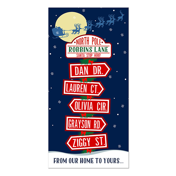North Pole Family Sign Personalized Postcard