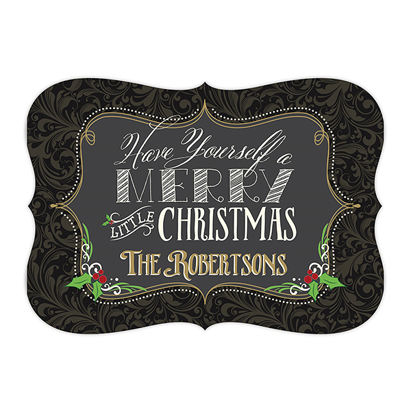 Personalized Christmas Card Chalkboard Design