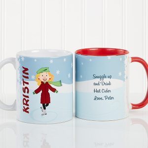 Ice Skating Character Personalized Coffee Mug