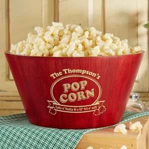 Popcorn Night Bamboo Personalized Serving Bowl
