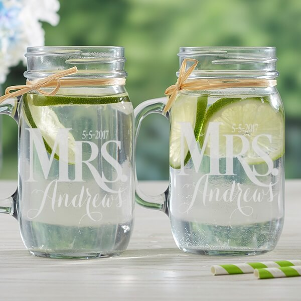 Personalized Mason Jar Glasses Wedding Gift
