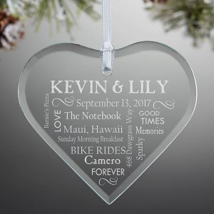 Engraved Glass Ornament Wedding Gift