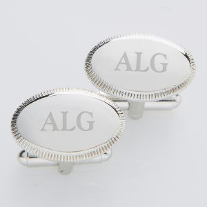 Elite Collection Silver Engraved Cuff Links