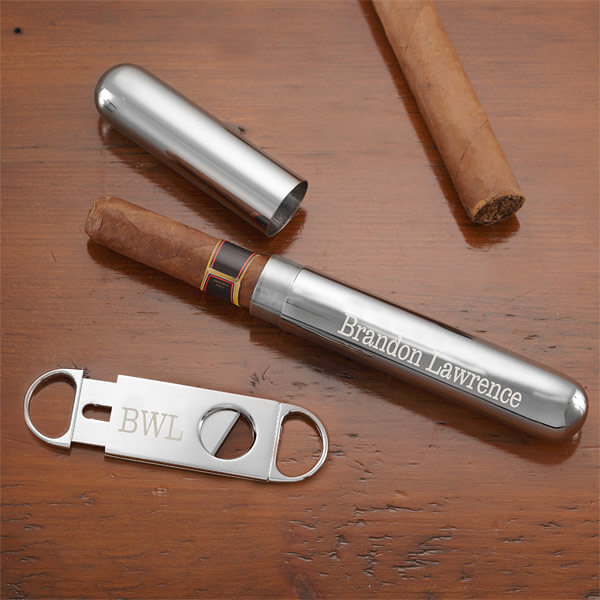 personalized Cigar Cutter & Case