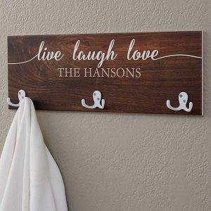 Live, Laugh, Love Personalized Coat Rack