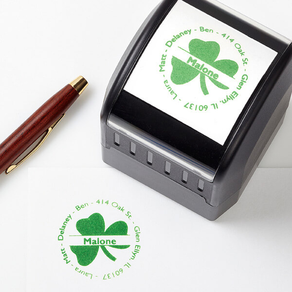 Irish Shamrock Self-Inking Address Stamp