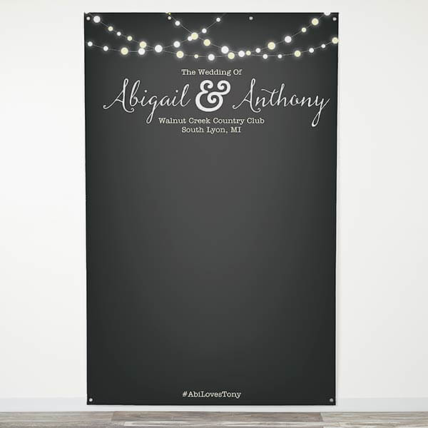 Twinkle Lights Personalized Photo Backdrop