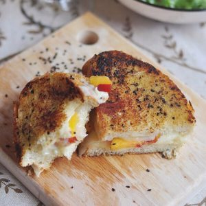 Peach Grilled Cheese With Mizo & Black Sesame Butter