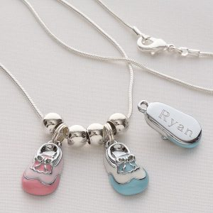 Engraved Baby Bootie Necklace