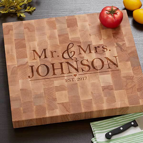 Butcher Block Cutting Board - Wedding Design