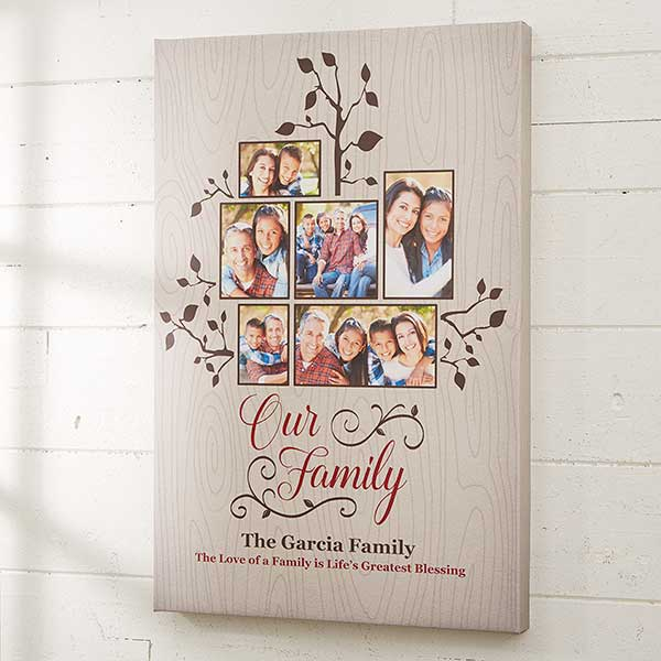 Photo Family Tree Personalized Canvas Print