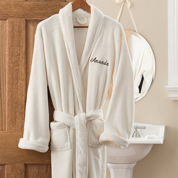 Embroidered Luxury Ivory Fleece Robe for Mom