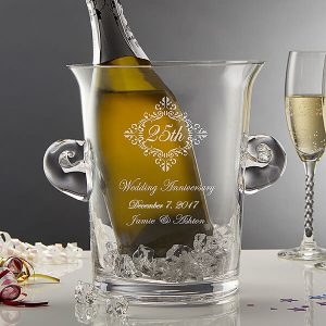 Anniversary Memento Engraved Crystal Chiller & Ice Bucket