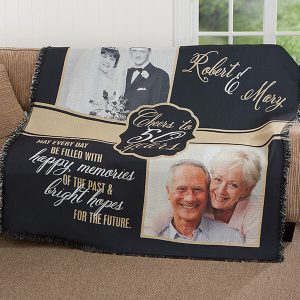 Cheers To Then & Now Anniversary Personalized Woven Throw