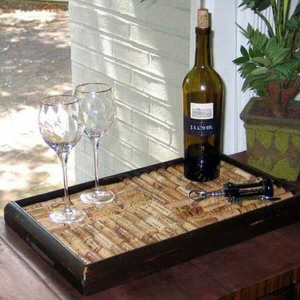 Wine Cork Wedding Guestbook Serving Tray