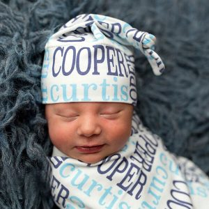 Classic Repeating Name Personalized Baby Hat & Swaddle Blanket