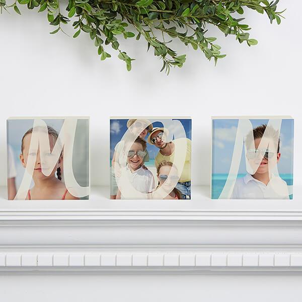 MOM Personalized Photo Shelf Blocks