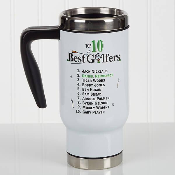 Top 10 Golfers Personalized Travel Mug