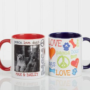 Peace, Love, Dogs Photo Coffee Mug