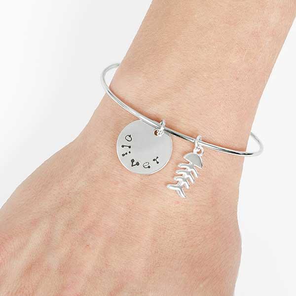 Stamped Pet Name Personalized Bangle Bracelet
