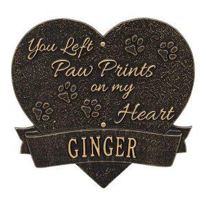 Paw Print Pet Memorial Personalized Aluminum Heart Wall Plaque