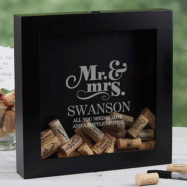 Personalized Wine Cork Guestbook Shadow Box