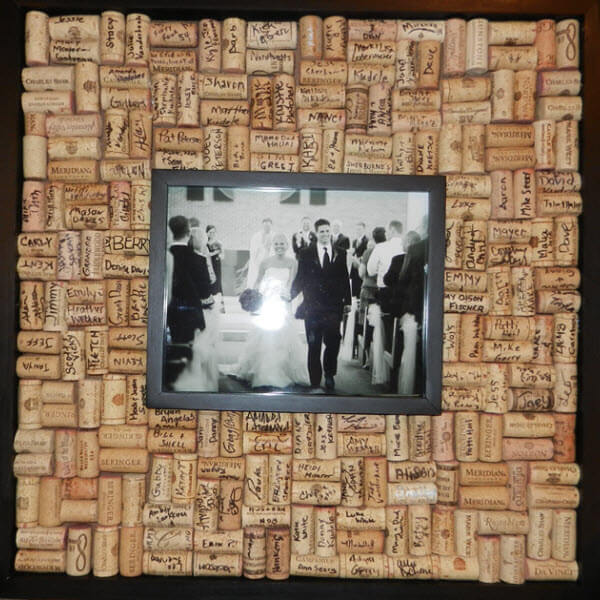 Wine Cork Wedding Guestbook Picture Frame