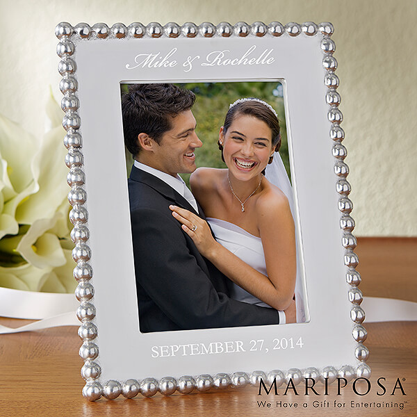 String of Pearls Personalized Wedding Photo Frame