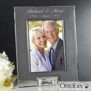 Engraved Anniversary Crystal Photo Frame