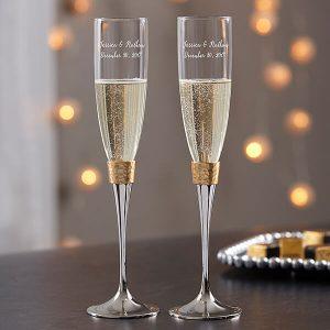 Gold Hammered Engraved Wedding Champagne Flute Set