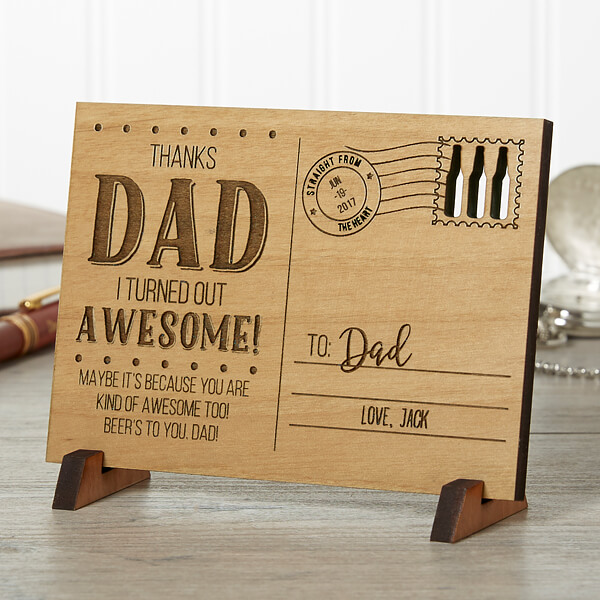 Sending Love To Dad Personalized Wood Postcard