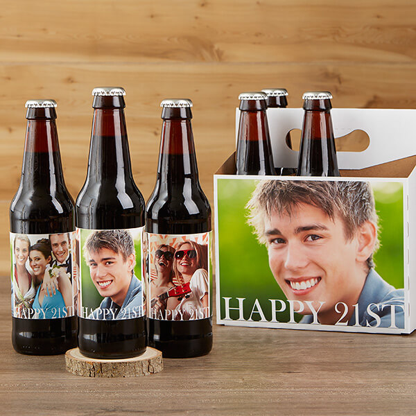 Happy Birthday Photo Beer Bottle Labels & Beer Carrier