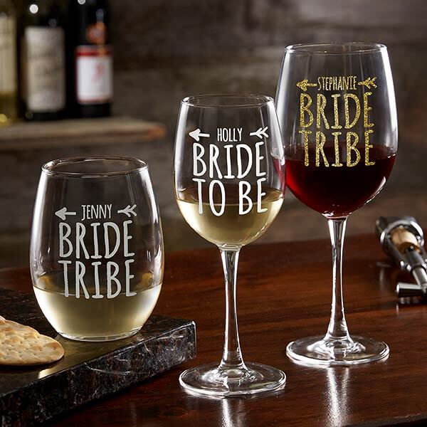 Bride Tribe Personalized Wine Glass Collection