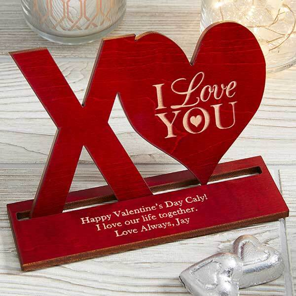 XO Engraved Wood Keepsake