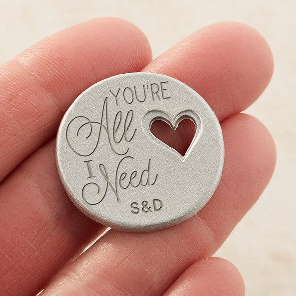 You're All I Need Personalized Heart Pocket Token