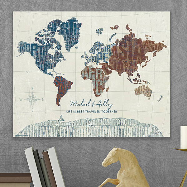 World Map Personalized Canvas Tile