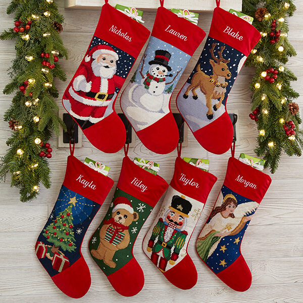 Character Needlepoint Christmas Stockings