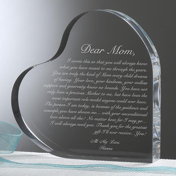 Letter to Mom Engraved Heart Keepsake Gift