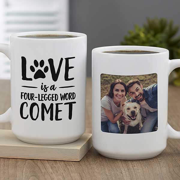 Love is a Four-Legged Word Personalized Coffee Mug
