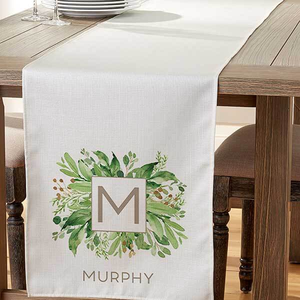 Greenery Monogrammed Table Runner