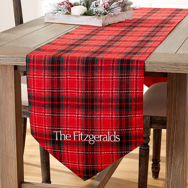 Holiday Plaid Embroidered Table Runner