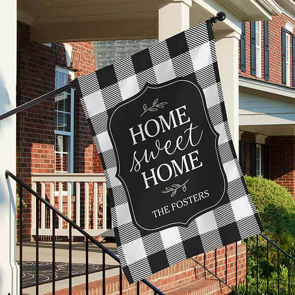 Home Sweet Home Buffalo Check House Flag